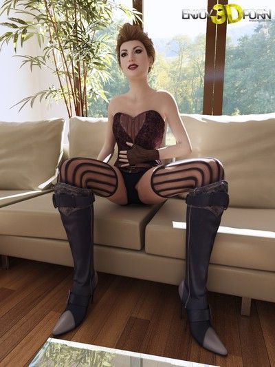 Sexy chick in corset wants to show her body
