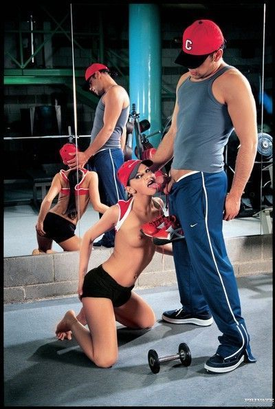 Vintage fit babes fucked in their asses in the gym