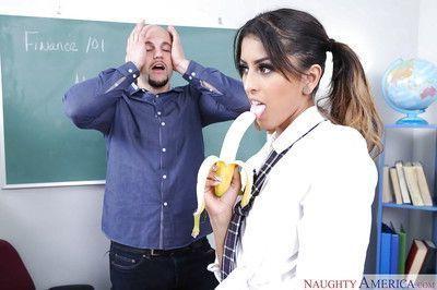 Young schoolgirl Sophia Leone sucking and fucking teacher