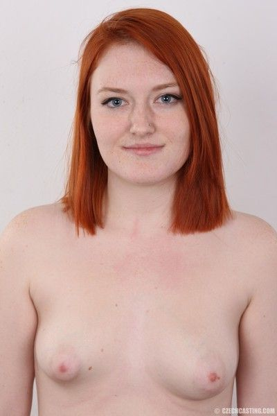 Chubby redhead with small tits