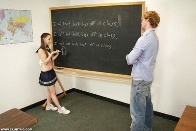 Fully clothed naughty schoolgirl jerking off a stiff prick