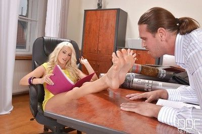 Tasty office worker Blanche Bradburry gives footjob and blowjob