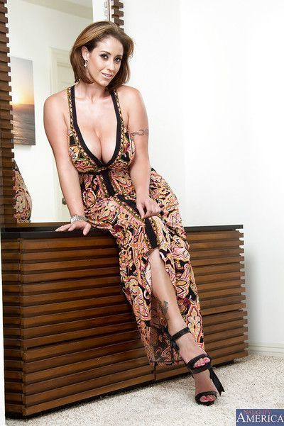 Ravishing latina MILF with boobacious tatas getting rid of her dress and thongs
