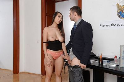 Elegant Japanese secretary Sharon Lee getting bonked by want dong at plow up