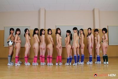 Japanese soccer sluts love to show off naked