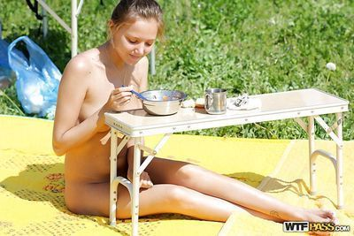 Fascinating blond model with bald muff and perspired wazoo posing exposed outdoor
