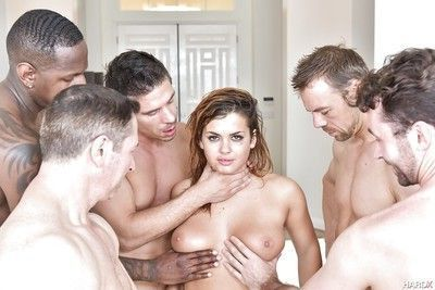 Sexy young chick Keisha Grey getting gangbanged by large dicks