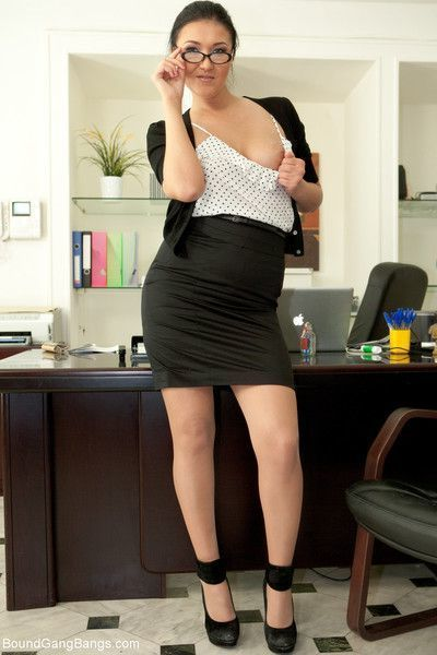 Hot secretary is taken down and bound by her boss who invites his friends to fuc