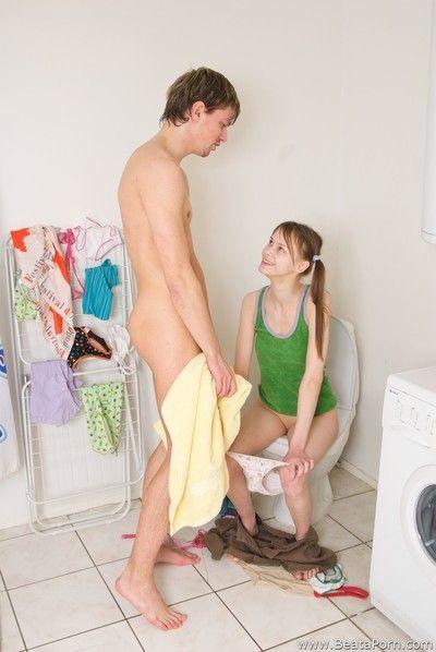 Teen fucked on toilet