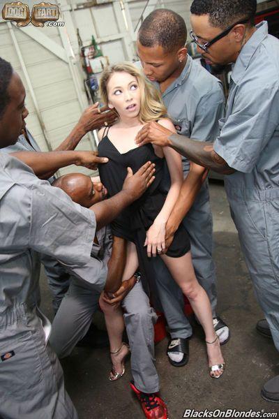 Tiny blonde slut Angel Smalls gangbanged by black maintenance crew