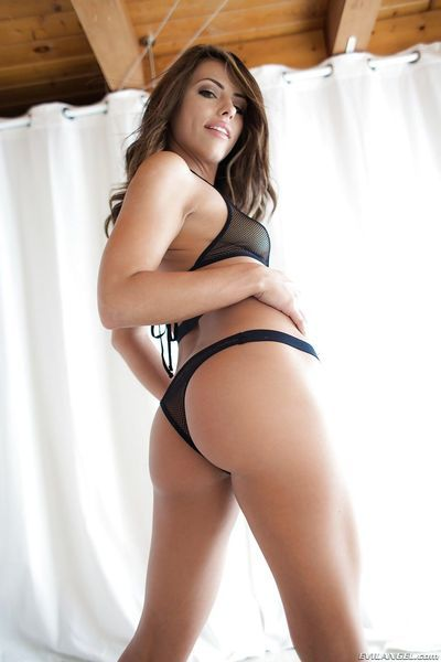 Two lovely playgirls AJ and Adriana strip out of their black lingerie