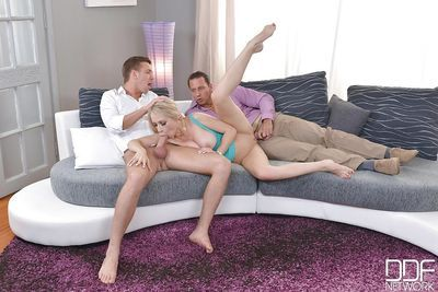 Skinny Euro blonde Chessie Kay banged by 2 large cocks in MMF action