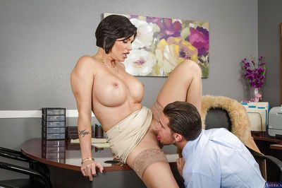 Spicy dark-haired model was drilled by her hardcore boss in the mouth