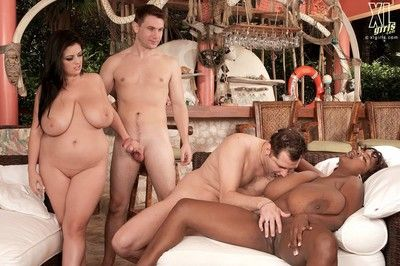 Huge black and white boobs fucked in group sex action