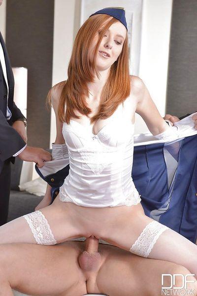 Redheaded stewardess Linda Sweet getting gangbanged and anal gaped