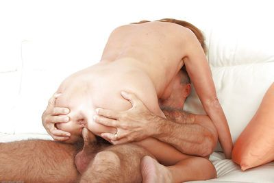 Mature first timer Meg having her hairy vagina licked and fingered