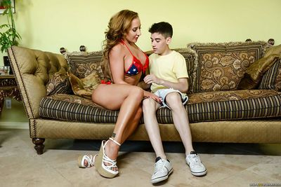 Bikini clad cougars give young man with big cock reverse gangbang BJ