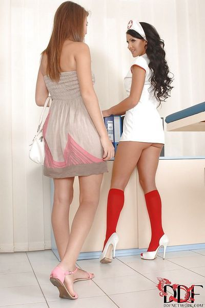Awesome lesbians Bonnie Shai and Nia Black trying to please each other