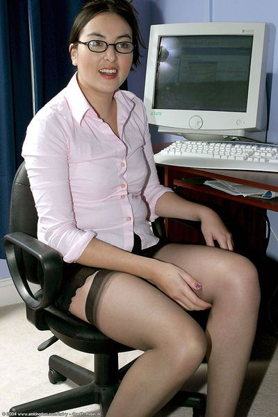 Latina babe Dawn takes off her sexy lingerie while in her office