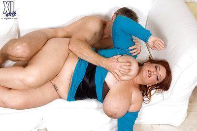 Redhead fatty Jade Parker unveiling massive boobs before hardcore fuck