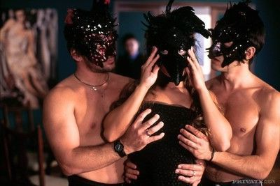 Gorgeous blonde fucked by two guys with masks in strange party