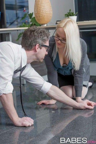 Blonde secretary rides dick