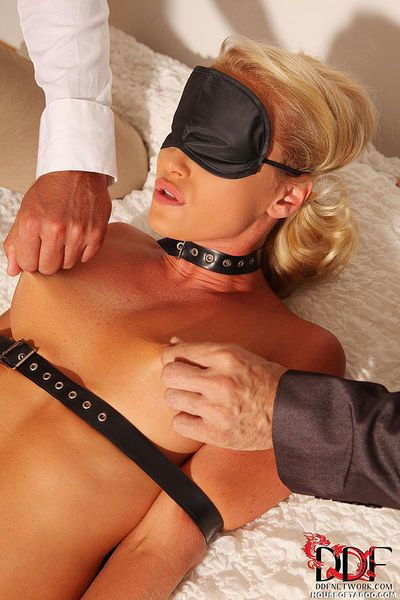 Blindfolded and restrained Kathia Nobili having ass toyed before BDSM DP