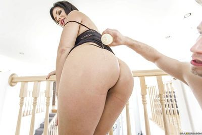 Latina cougar Shay Fox has her big booty oiled up for ass fucking