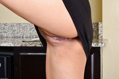 Beautiful Japanese lady Angelina Chung slowly lifts up her black dress