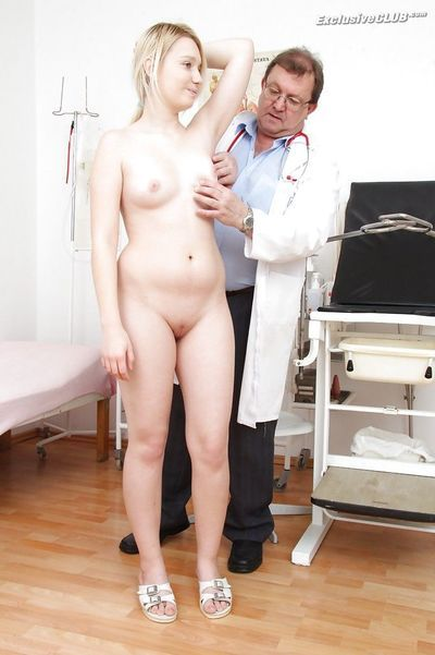Fuckable blonde girl gets her soft pussy properly examed by an older gyno