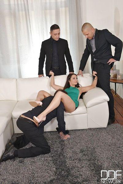 Aurelly Rebel strips off short dress before gangbang and blowbang
