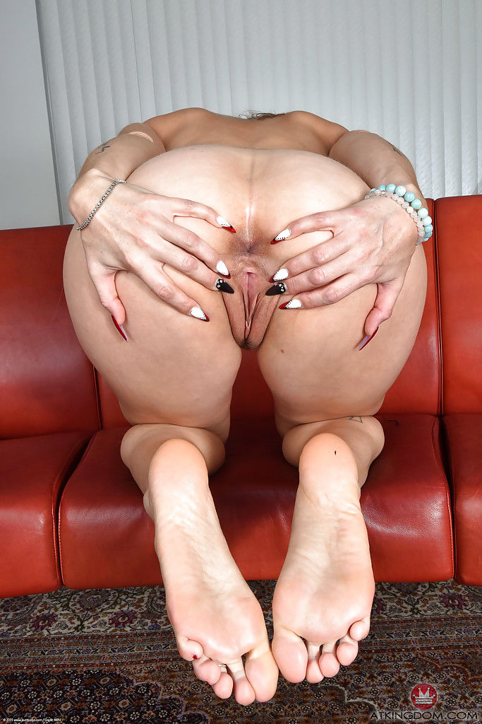Busty MILF Miss MelRose spreading ass cheeks and pussy in socks - part 2