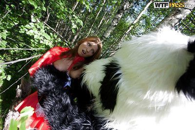 Pretty teen with big tits has a hardcore sex with panda toy outdoor