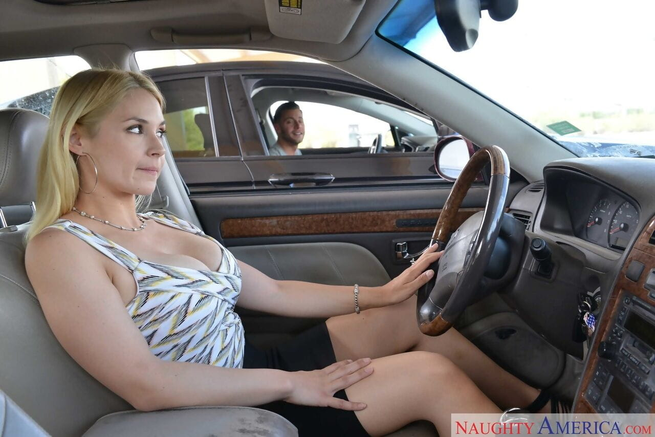 Busty wife Sarah Vandella wears black stockings while she is drilled