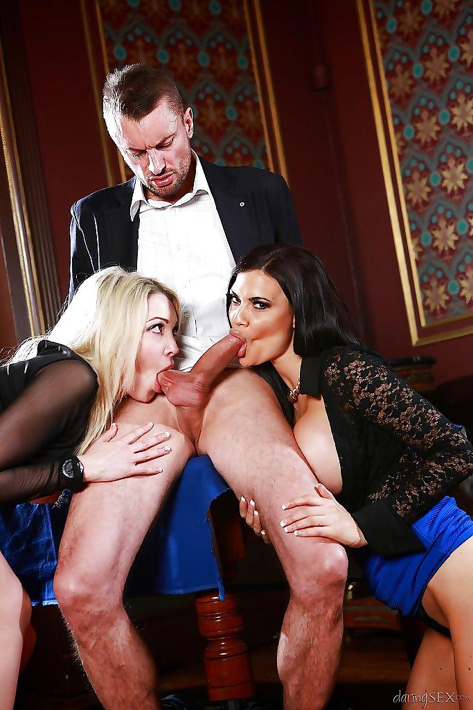 Buxom ladies Tamara Grace and Jasmine Jae sucking cock and washing balls