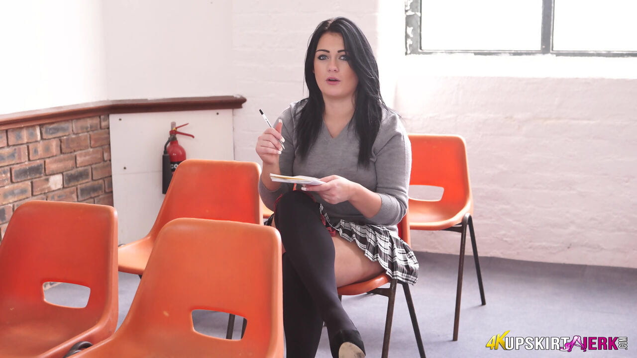 Dark haired schoolgirl reveals gets naughty in class with a no panty upskirt