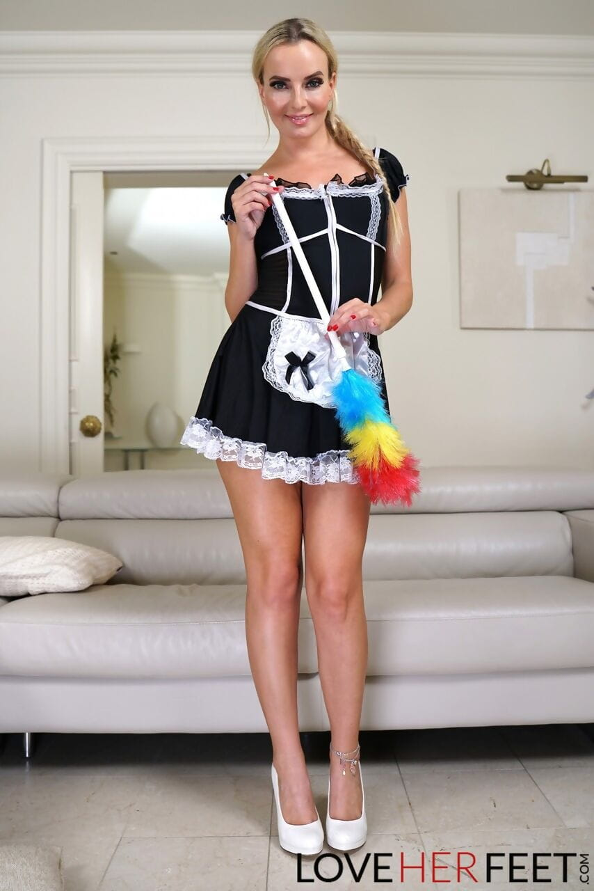 Hot blonde maid Victoria Pure lets her boss lick & cum on her yummy feet