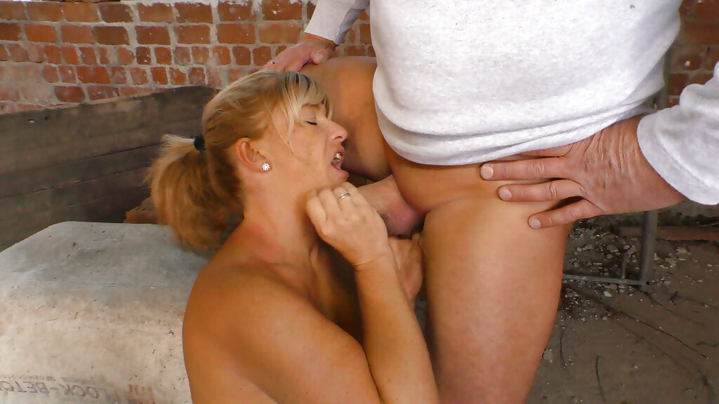 Older Euro pornstar with tattoos taking hardcore doggystyle fuck outside