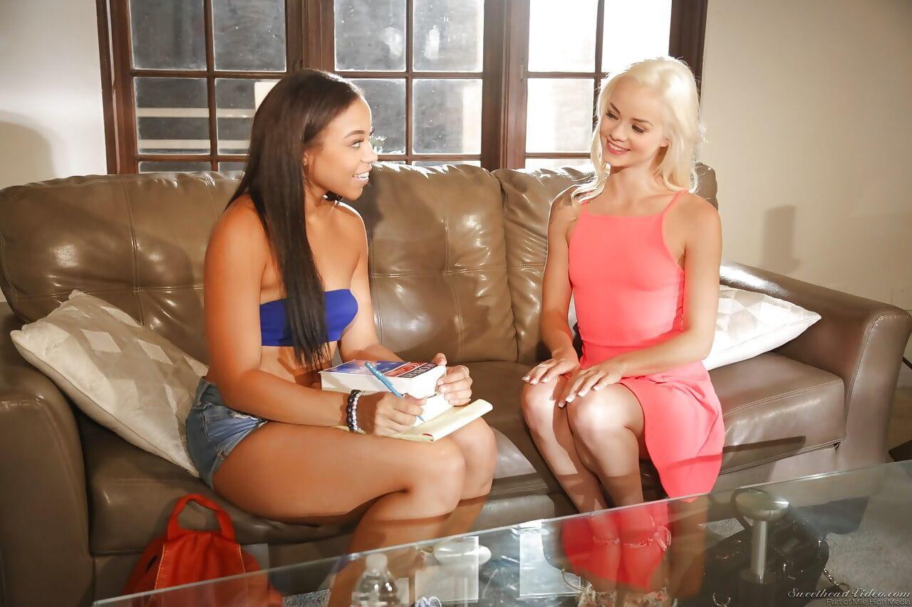 Hot BFs Elsa Jean & Adrian Maya get ass licking joy in lesbian interracial sex