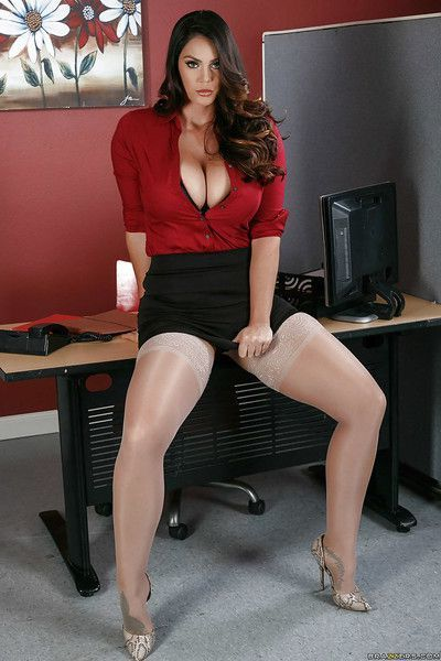 Busty secretary Alison Tyler showing lots of cleavage and flashing panties