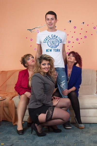 Mature reverse gangbang action with three women