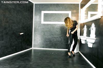Kinky fashionista on high heels performs wet and slimy gloryhole scene