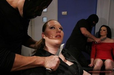 Fatty babes with big tits are tied for hardcore BDSM groupsex