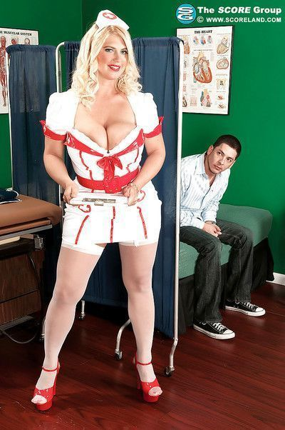 Kelly Christiansen dresses as a nurse and fucks with a young patient in her slutty uniform.