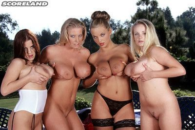 The busty euro maids all meet for this tabletop girl party