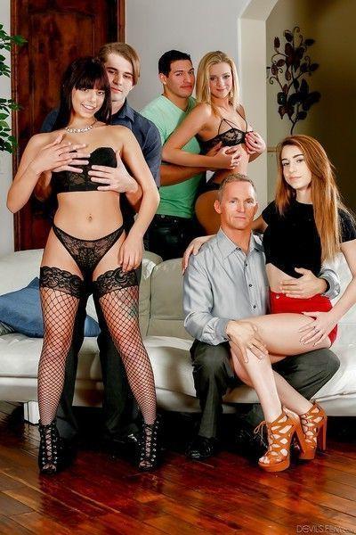 Three sensual playgirls Joseline, Gina and Tiffany ride on three cocks
