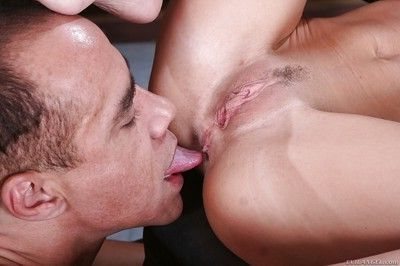 Hot femdom Hillary Scott gets her love holes licked and spanks her man slave