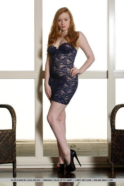 Natural redhead Kloe Kane slipping off see thru lingerie to pose nude