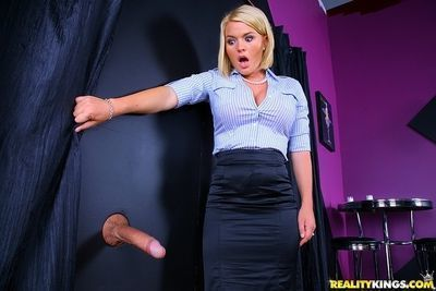 Gorgeous blonde Krissy Lynn getting fucked through a glory hole