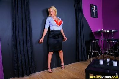Gorgeous blonde Krissy Lynn getting fucked through a glory hole